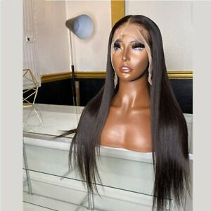 24inch Synthetic hair Lace front wigs Daily use Black Handtied Natural Straight
