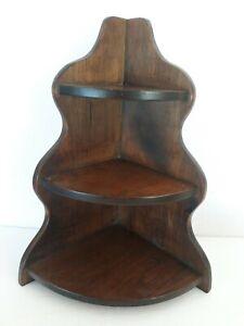 "Vtg Corner Solid Wooden Wall Table Shelf 15"" Display 3 Tier Farmhouse Rustic"