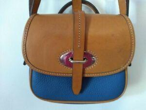 Dooney & Bourke Mini Cristina Blue and Tan Pebble Leather Flap Saddle Bag Purse