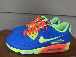 Nike Air Max 90 BG 307793-410 Blue/Volt-Orange Athletic Shoes Youth Size 6.5Y