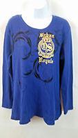 Old Skool Women's Long Sleeve Embellished T-shirt Blue Urban Royal Size 2X NWT