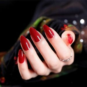 24 Pcs Wine Red Fake False Nails Tips Pointed Long Style Nude Nails With Glue