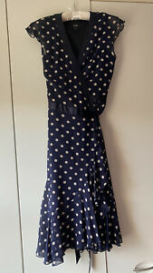 Navy Spotted Hobbs Wraparound Dress Size 12