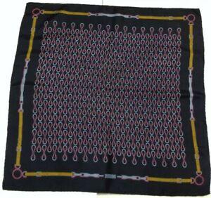 GUCCI 100% Silk Scarf Bandana ITALY Luxury EQUESTRIAN Blue/Red 70x67 cm EUC rare