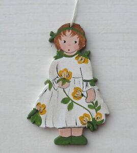 Blumenmädchen von Land-Art ♥ Anhänger 7,5cm Holz handbemalt Frühling Blumen