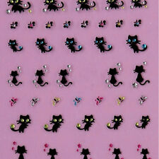 Unique Nail Art Stickers Decals Nail Decoration Diamond Cat Butterfly Design#