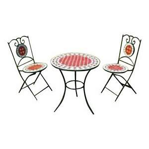 Moroccan Mosaic Tile Table & Chair Bistro Set - Round Zellige - Many Colors