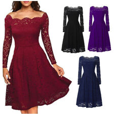 Fashion Women Ladies Lace Dress Vintage Swing Skater Party Evening Dress