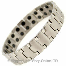 NEW Mens TITANIUM Magnetic Bracelet Chrome Finish 40 Magnets Neodymium Therapy