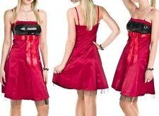 SeXy Damen Girly Glanz Petticoat Kleid Tüll rot schwarz Pailletten S 34 NEU