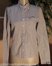 Hollister By Abercrombie & Fitch Striped Navy Blue White Dress Shirt X Small XS