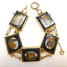 Antique Victorian 14K Yellow Gold-Backed Micromosaic Roman Ruins Bracelet