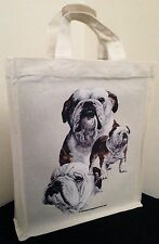 Bulldog Natural Cotton Small Fun Party Bag Tote with Gusset Useful Gift