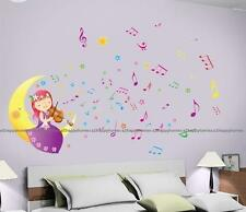 Princess Fairy Purple Girl Playing Violin on Moon Wall Stickers Kids Bed LOUNGE