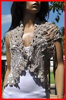 Vtg Thai handmade Boho summer crochet vest coat covers shirt women beige S M