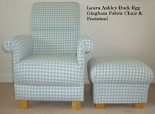 Laura Ashley Duck Egg Gingham Fabric Chair & Footstool Green Check Nursery New