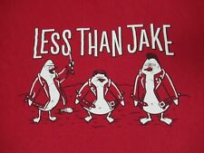 VINTAGE LESS THAN JAKE BAND AS FAT DUCKS - RED LARGE T-SHIRT - A1529