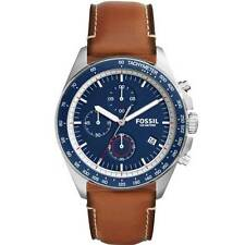 Fossil CH3039 Brown Leather Blue Dial Chronograph Tachymeter Analog Men's Watch