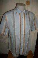 Chemise manches courtes coton bleu ciel rayé marron SERGE BLANCO  T.L ou 42