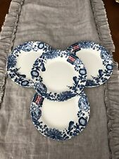 CHURCHILL ENGLAND 4 NEW BLUE FLORAL SALAD/LUNCHEON PLATES NEW EARTHENWARE