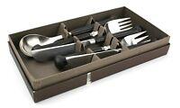 Denby Regency Brown Stone & Steel Cutlery Set 2 Knives & Forks 1 Spoon Boxed
