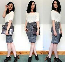 BRAND NEW Metallic Silver Pencil skirt size 8 knee length, stretch