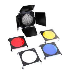 Honeycomb Barn Door Red/Yellow/Blue/White 4 Color Gel Filter Studio Flash Strobe