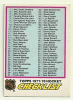 1977 77-78 OPC O-PEE-CHEE CHECKLIST 1-132 #68 TOPPS HEADING EX OC UNMARKED