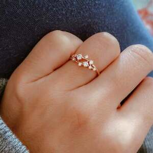 2.00Ct Round Cut Cluster Diamond Engagement Stackable Ring 14K Rose Gold Over