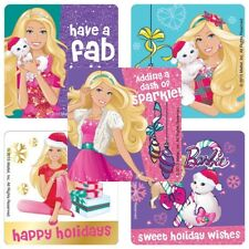 """25 Barbie Christmas / Holiday Stickers, 2.5"""" x 2.5"""" each, Party Favors"""