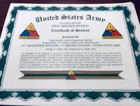 U.S. ARMY ~ ARMOR DIVISIONS CERTIFICATE OF SERVICE / With FREE PRINTING