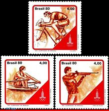 1702-04 BRAZIL 1980 SUMMER OLYMPIC GAMES, MOSCOW, ROWING, BICYCLING, BIKE, MNH