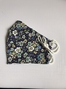 Navy Floral Face Mask/Covering Adjustable Ear Loop & Pocket Washable Reusable
