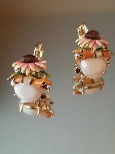 Les Nereides Earrings Flower, Snake & Stone 14ct Gold Plated Rrp £80 NEW