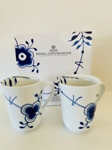 ROYAL COPENHAGEN Porcelain Mugs. 2 Peice Blue Fluted Pattern HAND MADE NEW IN BX