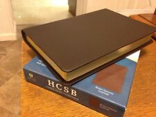 NEW! HCSB Large Print Ultrathin Reference Bible, Brown Genuine Cowhide RTL $60