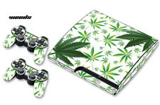 Skin Decal Wrap For PS3 Slim PlayStation 3  Console + Controller Weeds White
