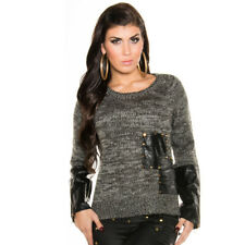 KouCla Knitted High Low Jumper With Leather Look Panels & Studs - Black
