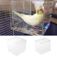 Transparent Bird Bath for Caged Bird Budgie Cockatiel Bath Clean Box Toy Acrylic