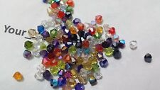 100 FACETED BICONE CRYSTAL GLASS BEADS 4MM MIXED COLOURS JEWELLERY MAKING