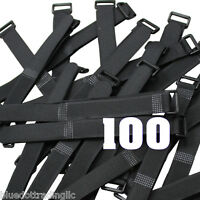 "100pcs 8"" Black Wrap Cable Ties Wire Cord Straps Reusable Hook & Loop US Shipper"