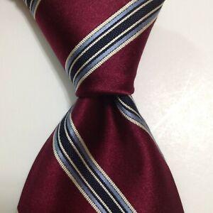 BROOKS BROTHERS Golden Fleece Men's Silk Necktie Woven STRIPED Burgundy/Blue NWT