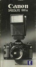 CANON 199A SPEEDLITE CAMERA FLASH INSTRUCTION MANUAL for CANON F1-A1-AE1-AL1-AV1