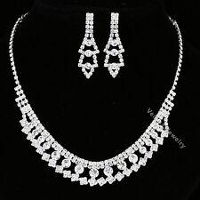 Bridal Wedding Jewelry Prom Rhinestone Crystal Necklace Earrings Set N316
