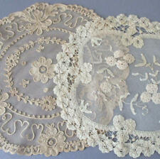 2 Vintage Handmade FRENCH LACE Centerpieces Creamy PRINCESS + Ecru TAMBOUR LACE