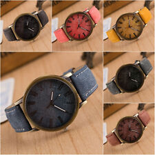 Men Women Denim Leather Analog Bracelet Quartz Watch Cowboy Wristwatches BLUE