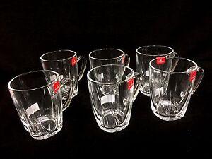 BULK  6 x  Coffee  Tea Glass Mug Tumbler with Handle 235ml  New (L)