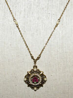 Vintage Gold Tone Filigree Faux Pearl Rose Pendant Necklace Signed 1928