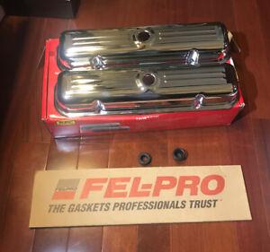 1959-1979 Pontiac v8 chrome valve covers 326 400 455 GTO Trans Am Fel-Pro Gasket