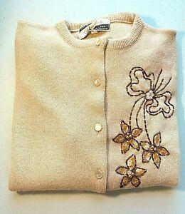 Vintage 1950's 60's Boho Women Small Cream Cardigan Orlon Acrylic Beaded Sequin